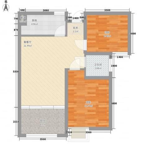 宏辉大厦2室1厅1卫1厨80.00㎡户型图