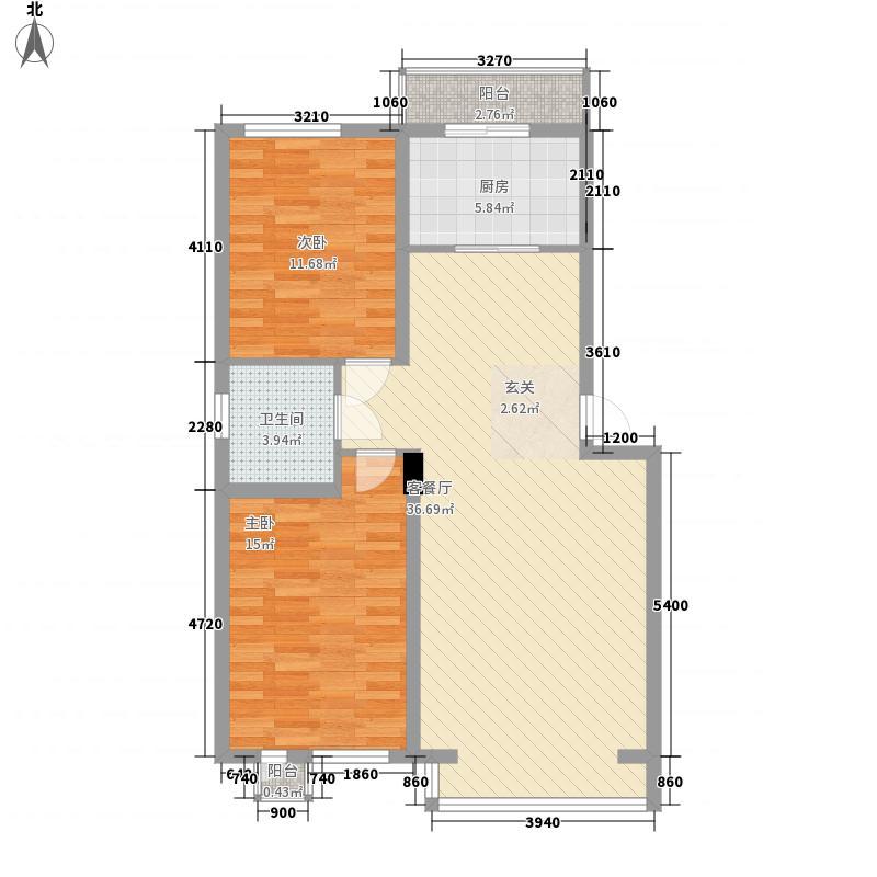 大禹城邦17.64㎡泊心湾(9#楼)户型2室2厅1卫