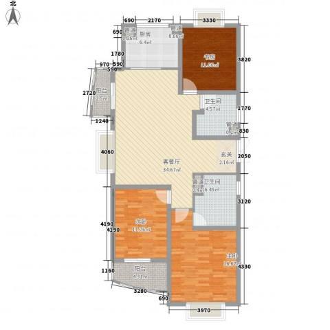 新湖青蓝国际3室1厅2卫1厨141.00㎡户型图