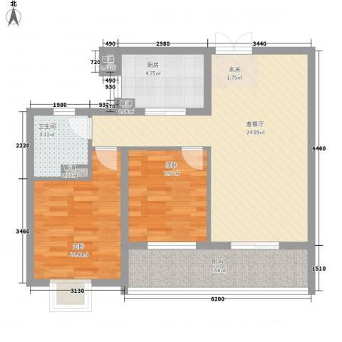 新湖青蓝国际2室1厅1卫1厨85.00㎡户型图