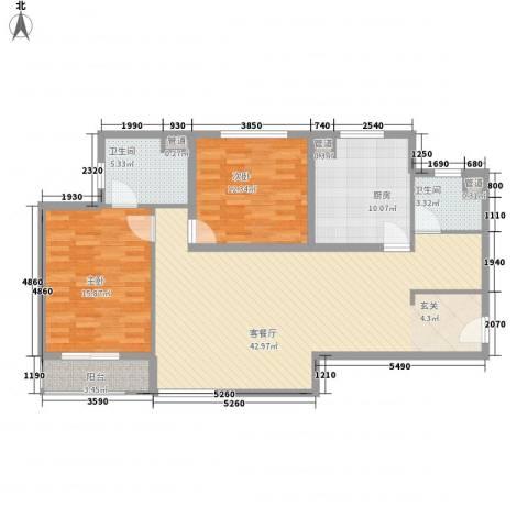 东方雅苑2室1厅2卫1厨132.00㎡户型图