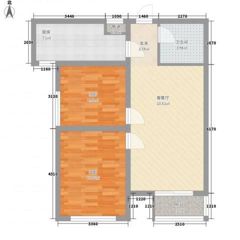 宏程华府2室1厅1卫1厨86.00㎡户型图