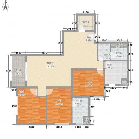 东方雅苑3室1厅2卫1厨149.00㎡户型图