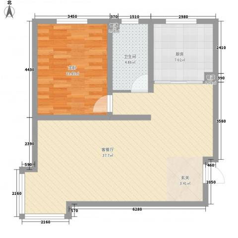 山景明珠花园1室1厅1卫1厨87.00㎡户型图