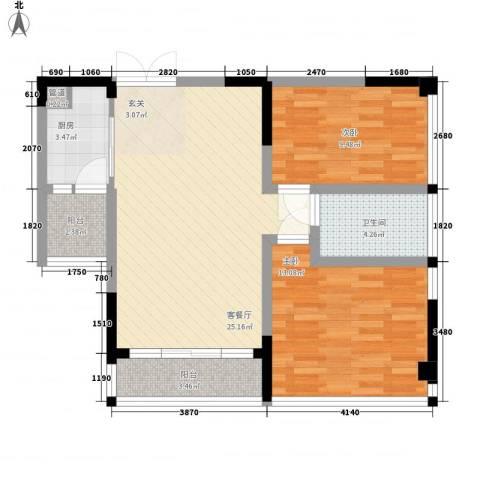 宗申动力城2室1厅1卫1厨90.00㎡户型图