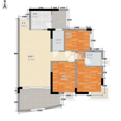 金辉新苑3室1厅2卫1厨128.00㎡户型图