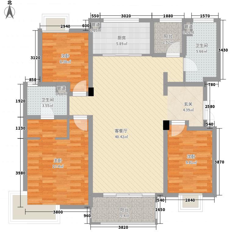 魅力万科城144.00㎡听香水榭3J3户型3室2厅2卫