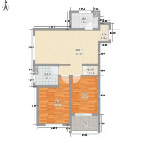 金域蓝湾2室1厅1卫1厨89.00㎡户型图