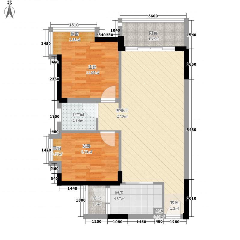 祥圣华苑76.40㎡1栋1/2单元B户型2室2厅1卫1厨