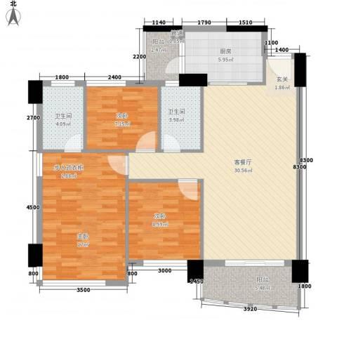金宝山庄3室1厅2卫1厨85.77㎡户型图