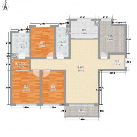 金域蓝湾3室1厅2卫1厨143.00㎡户型图
