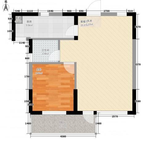 斯坦福院落2011百花深处1室1厅1卫1厨68.00㎡户型图