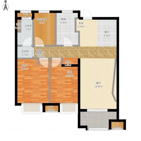 万科中环国际城海上传奇2室1厅2卫1厨129.00㎡户型图