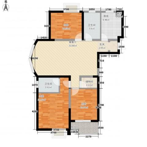 奕淳・奕翔国际公寓3室1厅2卫1厨131.00㎡户型图