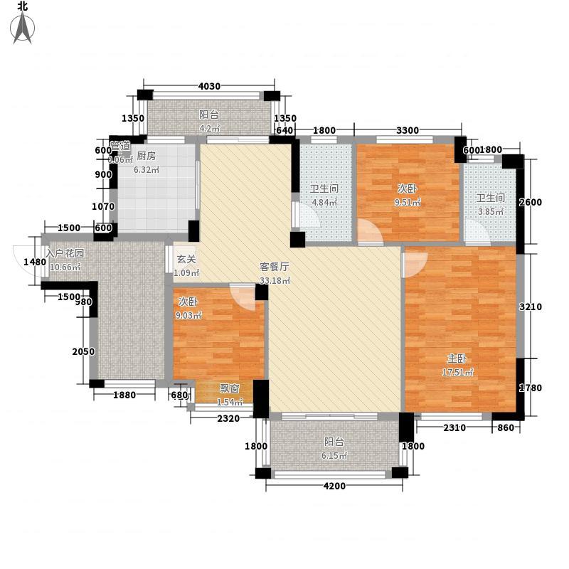 金山湖花园124.71㎡3号小区302栋2单元04号房户型3室2厅2卫1厨