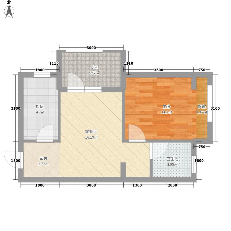 唐轩首府1室1厅1卫1厨39.42㎡户型图