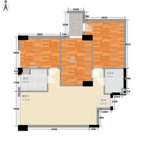 滨东康城二期3室1厅1卫1厨80.17㎡户型图
