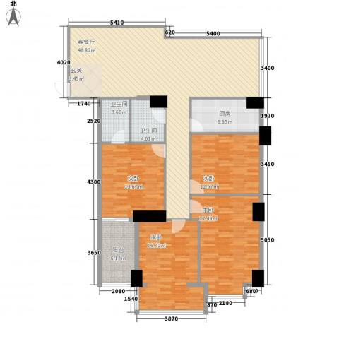 滨东康城二期4室1厅2卫1厨161.00㎡户型图