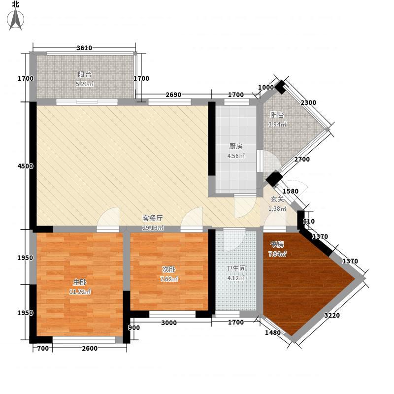 领地・国际公馆3室1厅1卫1厨78.00㎡户型图