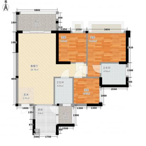 正德天水湖3室1厅2卫1厨72.34㎡户型图