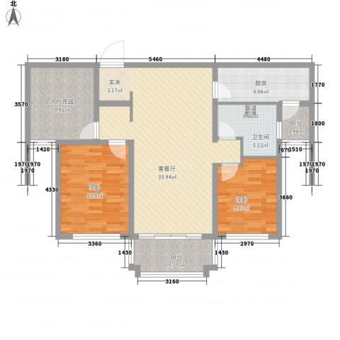 金域蓝湾2室1厅1卫1厨122.00㎡户型图