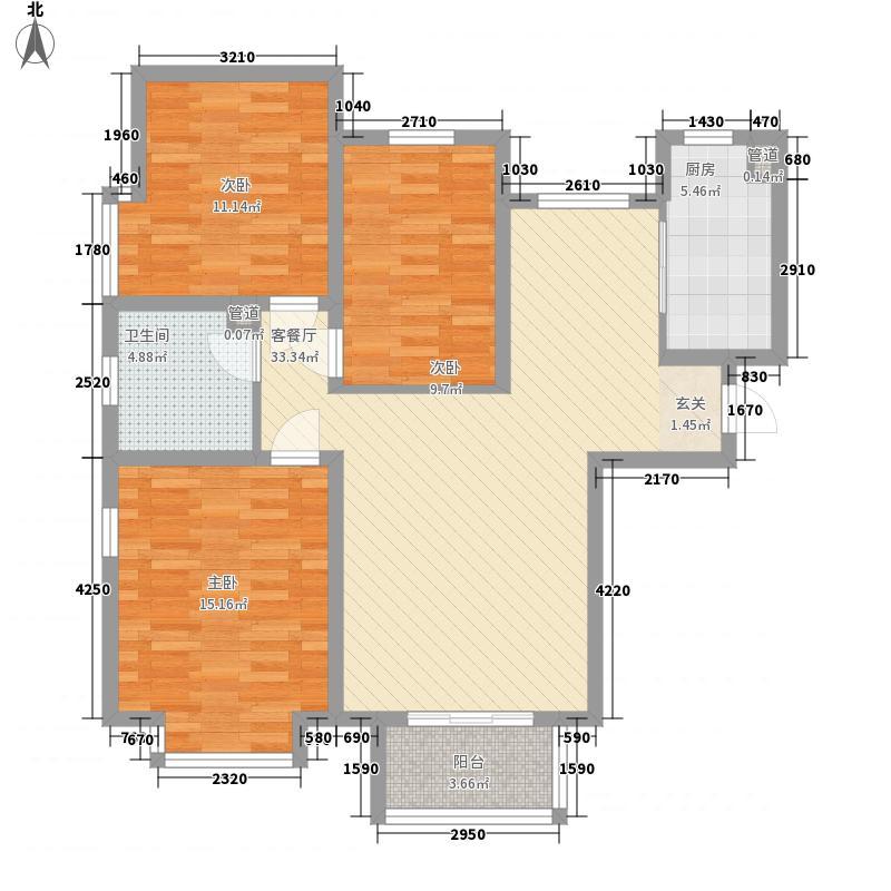 金海・太阳公园二期112.00㎡A1户型3室2厅1卫1厨