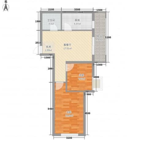 唐轩首府2室1厅1卫1厨69.00㎡户型图