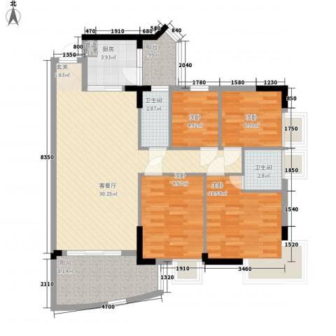 金辉新苑4室1厅2卫1厨118.00㎡户型图