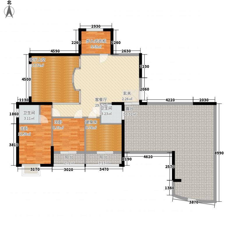 滨江一号3#楼01单元户型3室2厅2卫