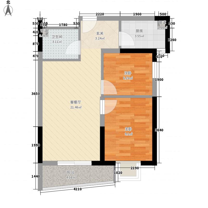 曼哈顿广场68.50㎡B1户型2室2厅1卫1厨