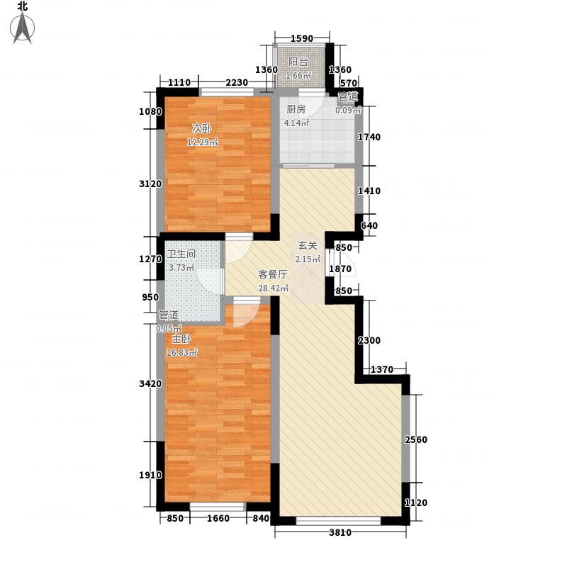 大禹城邦88.00㎡A户型2室2厅1卫1厨