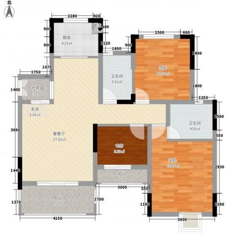 巨龙江山国际3室1厅2卫1厨80.07㎡户型图
