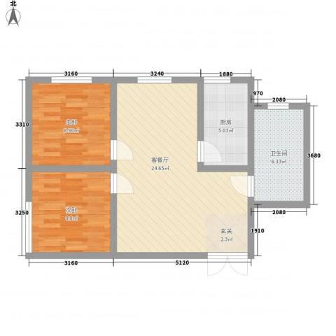 德胜凯旋花园2室1厅1卫1厨76.00㎡户型图