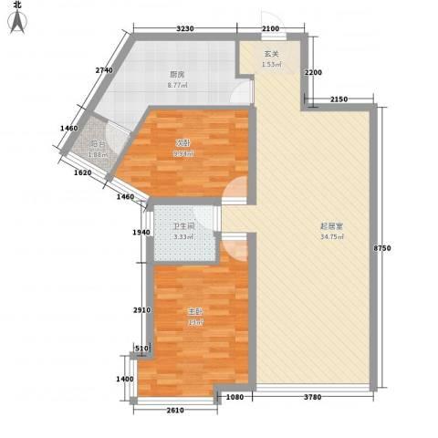 新世界花园湾景华庭2室0厅1卫1厨103.00㎡户型图