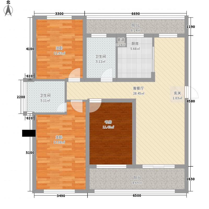 琵琶花园2户型3室2厅1卫1厨
