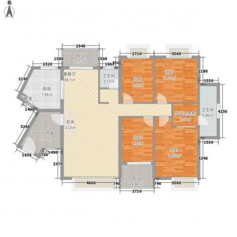 联发滨海名居4室1厅2卫1厨166.00㎡户型图