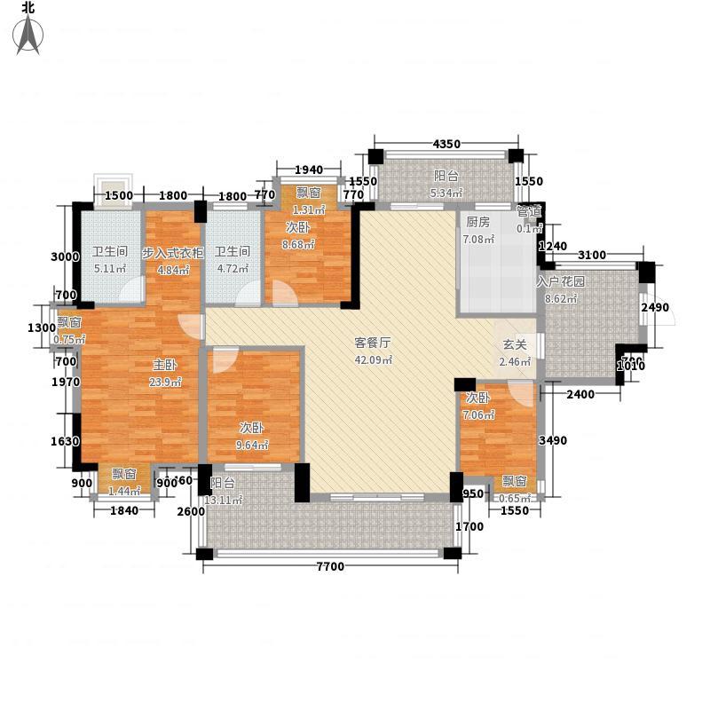 金山湖花园153.10㎡2号小区205栋03、04号房户型4室2厅2卫