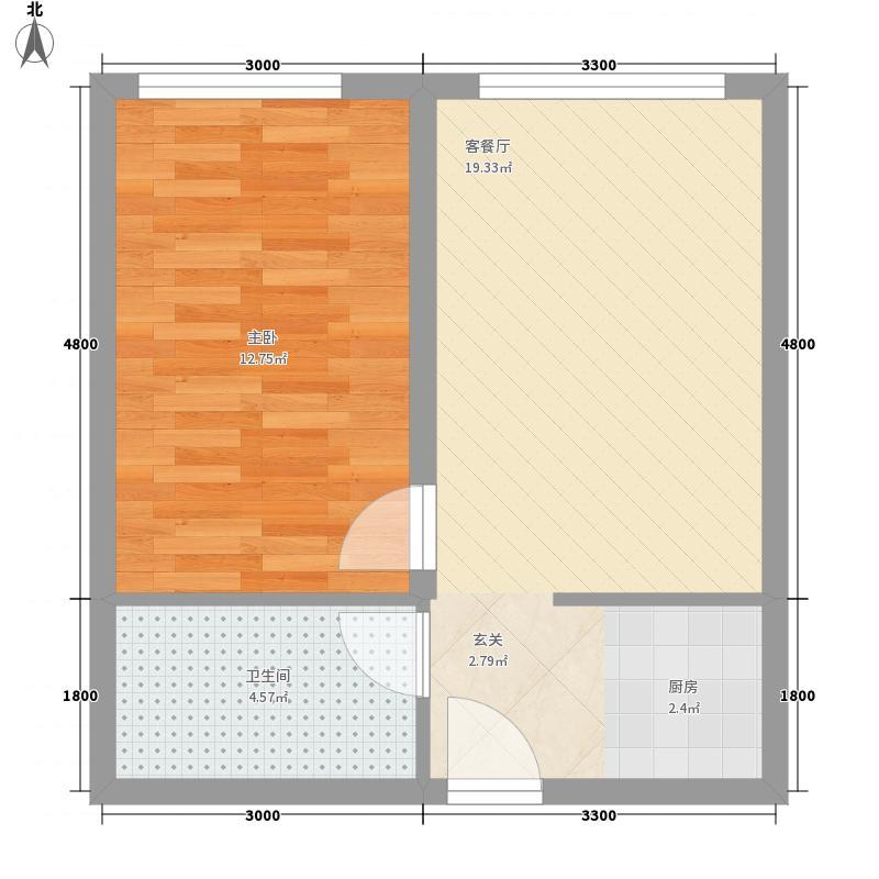 褐山花园2户型1室1厅1卫1厨
