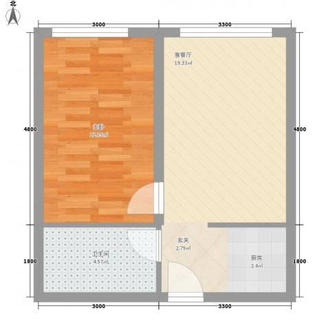 褐山花园1室1厅1卫0厨52.00㎡户型图
