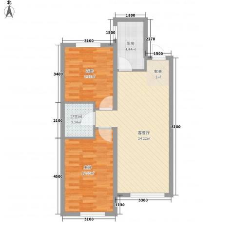 唐轩首府2室1厅1卫1厨78.00㎡户型图