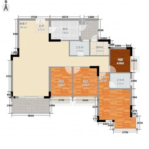 金地格林小城4室1厅2卫1厨122.47㎡户型图