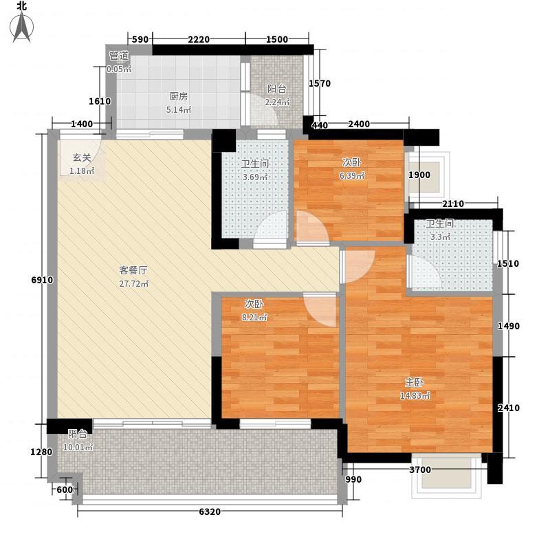 保利林语16.00㎡E-1、2栋D户型3室2厅2卫1厨