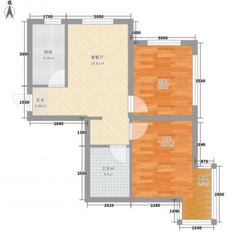 唐轩首府2室1厅1卫1厨64.00㎡户型图