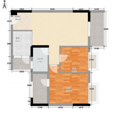 翰林名苑2室1厅1卫1厨82.00㎡户型图
