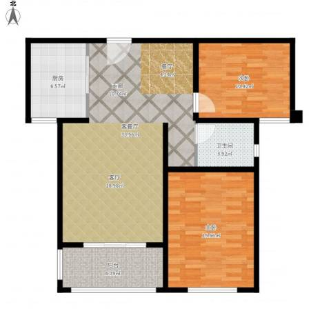 同科・汇丰国际2室1厅1卫1厨108.00㎡户型图