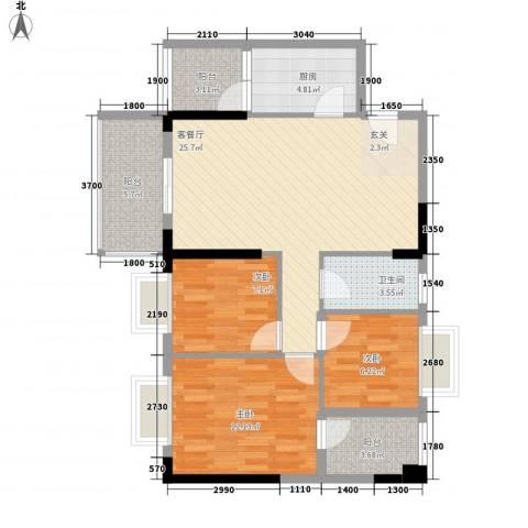 翰林名苑3室1厅1卫1厨72.01㎡户型图
