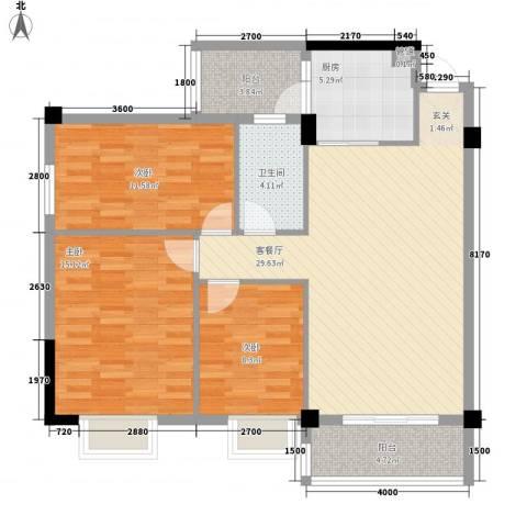 濠东花园3室1厅1卫1厨82.68㎡户型图