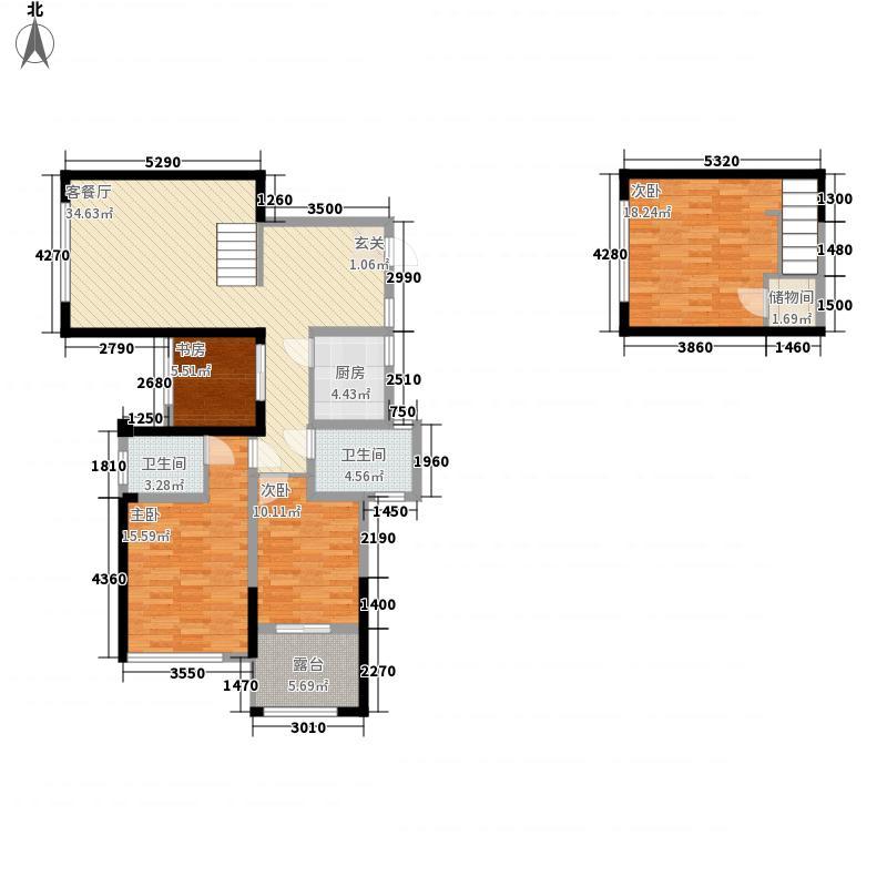 积家B21号楼与2号楼奇数层户型4室2厅2卫1厨