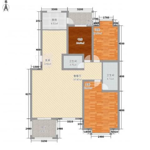 奥威花园3室1厅2卫1厨190.00㎡户型图