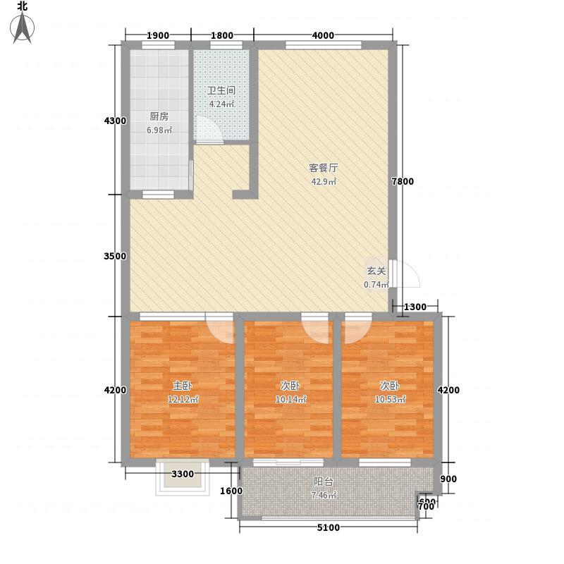 学府嘉苑户型3室1厅1卫1厨